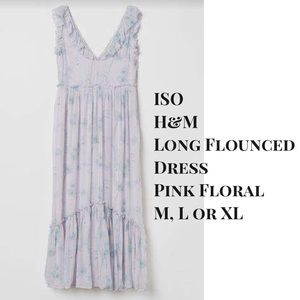 ISO H&M Long Flounced Dress Pink Floral M, L or XL